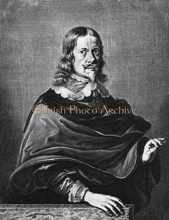 Johannes Hevelius (1611-1687) German astronomer.  Known now by the latinized form of Jan Hewel or Hewelcke, he spent as much time as he could spare from his brewing business observing from the roof of his house. Portrait from his 'Machina Coelestis' (Danzig or Gdansk, 1673) in which he published details of his observatory, instruments, and method of working. Engraving.