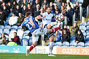 Portsmouth Defender, Adam Buxton (21) and Wycombe Wanderers Forward, Paul Hayes (9) during the The FA Cup match between Portsmouth and Wycombe Wanderers at Fratton Park, Portsmouth, England on 5 November 2016. Photo by Adam Rivers.