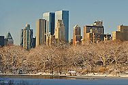 NYC, NY, Central Park, The Lake, Central Park West, NYC Skyline, Winter, Designed by Frederick Law Olmsted and Calvert Vaux