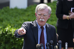 April 30, 2019 - Washington, District of Columbia, U.S. - U.S. national security adviser JOHN BOLTON spoke to reporters on Tuesday as chaos rules on the streets of Venezuela He singled out three senior aides to Venezuelan President Nicolas Maduro whom he said must make good on commitments they made to the opposition for a peaceful transition away from Maduro. April 30, 2019 (Credit Image: © Douglas Christian/ZUMA Wire)