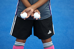 A detailed view of Hockey Balls during the match between Japan and New Zealand