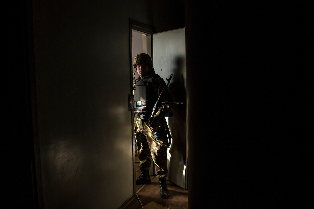 A Ukrainian soldier inside a medical treatment point for Ukrainian fighters on February 8, 2015 in Debaltseve, Ukraine. Fighting between pro-Russia rebels and Ukrainian forces there over the past two weeks has dealt steady casualties to Ukrainian fighters and civilians.