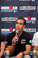 Eneko Llanos (ESP). Official Pre-Race Press Conference. 2012 Ironman Melbourne. Asia-Pacific Championship. Hosted By USM Events. 22/03/2012. Photo By Lucas Wroe.