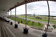 A general view of York Racecourse and the Knavesmire from the Press Box prior to the John Smiths Cup Meeting at York Racecourse, York, United Kingdom on 12 July 2019.