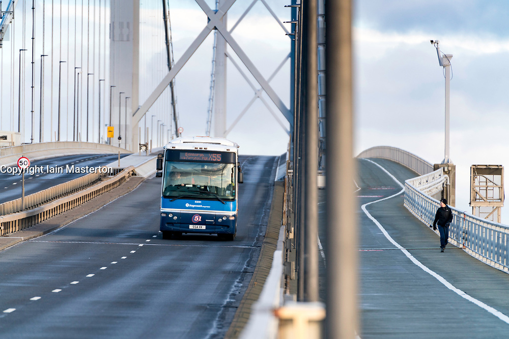 South Queensferry, Scotland, United Kingdom. 1 February, 2018. The Forth Road Bridge opened today as a dedicated public transport corridor giving bus and taxi passengers a direct and dedicated route towards Edinburgh. The reopened bridge also marks the launch of a new campaign, Fife in the Fast Lane , promoting public transport in Fife. Traffic flows  in the morning rush-hour was very low with the bridge appearing empty for long periods of time.