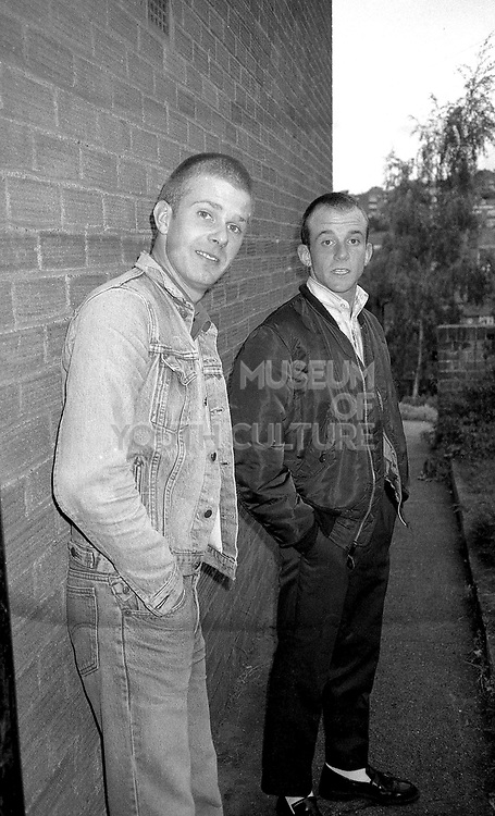 Two skinheads stood outside, High Wycombe, UK, 1980s
