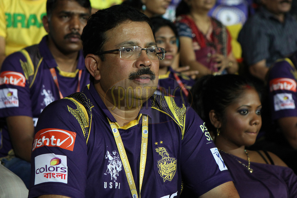 KKR CEO and MD V.Mysorewith other deligates at corporate encloser during match 28 of the Pepsi IPL 2015 (Indian Premier League) between The Chennai Superkings and The Kolkata Knight Riders held at the M. A. Chidambaram Stadium, Chennai Stadium in Chennai, India on the 28th April 2015.<br /> <br /> Photo by:  Saikat Das / SPORTZPICS / IPL