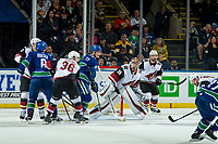 KELOWNA, BC - SEPTEMBER 29:  Brock Boeser #6 checks as Nikolay Goldobin #77 of the Vancouver Canucks looks for the pass in front of the net of Darcy Kuemper #35 of the Arizona Coyotes at Prospera Place on September 29, 2018 in Kelowna, Canada. (Photo by Marissa Baecker/NHLI via Getty Images)  *** Local Caption *** Brock Boeser;Nikolay Goldobin;Darcy Kuemper