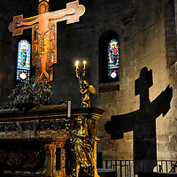 San Michele in Foro Cross and Silhouette in Lucca, Italy <br />