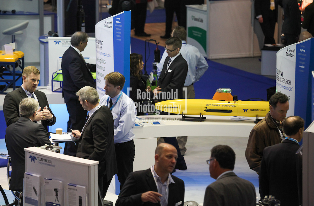 © Rob Arnold 11/03/2014. London, UK. The Teledyne stand at Oceanology International (OI), the world's largest exhibition for marine science and technology, held at London's ExCeL Centre. The three day exhibition provides an opportunity for industry, academic and government organisations to share knowledge and promote improvements in technology and strategy used for operating, surveying, protecting and exploiting resources in the oceans of the world. Photo Credit : Rob Arnold