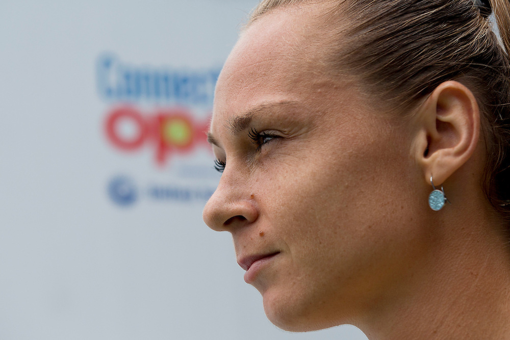 August 22, 2014, New Haven, CT:<br /> Magdalena Rybarikova looks on before the semi-final match against Camila Giorgi on day eight of the 2014 Connecticut Open at the Yale University Tennis Center in New Haven, Connecticut Friday, August 22, 2014.<br /> (Photo by Billie Weiss/Connecticut Open)