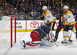 November 7, 2017 - Columbus, OH, USA - Columbus Blue Jackets goalie Joonas Korpisalo (70) gives up a goal against the Nashville Predators' Matt Irwin (52), not pictured, while Predators left wing Cody McLeod (55) and center Colton Sissons (10) crash the net during the second period at Nationwide Arena on November 7, 2017. (Credit Image: © Kyle Robertson/TNS via ZUMA Wire)