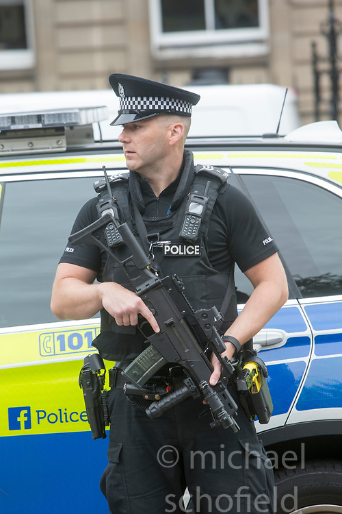 Armed police outside on Friday at TRNSMT music festival, Glasgow Green.