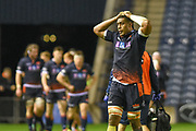 Exasperation for Bill Mata during the 1872 Challenge Cup, Guinness Pro 14 2018_19 match between Edinburgh Rugby and Glasgow Warriors at BT Murrayfield Stadium, Edinburgh, Scotland on 22 December 2018.