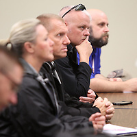 Tupelo Police officers listen during a press conference about the new MDOT cameras installed in Lee, Union and Pontotoc counties.