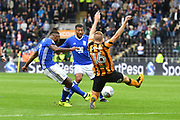 Birmingham City midfielder Jacques Maghoma (19) takes a shot at goal blocked by Hull City midfielder Sebastian Larsson (16) during the EFL Sky Bet Championship match between Hull City and Birmingham City at the KCOM Stadium, Kingston upon Hull, England on 30 September 2017. Photo by Ian Lyall.