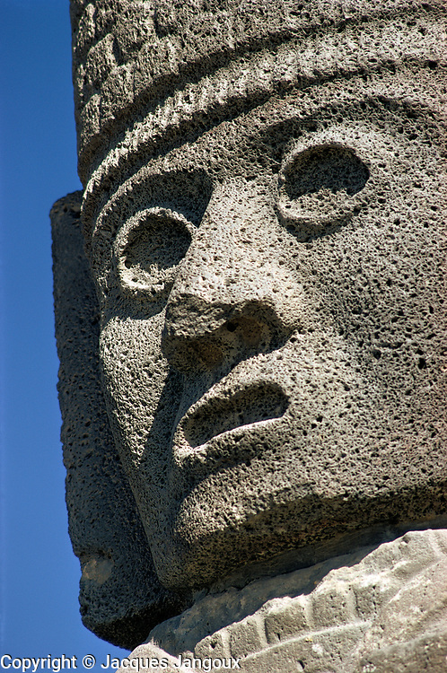 Head of Atlantean warrior figure at ruins of Tula, Toltec capital, Mexico.