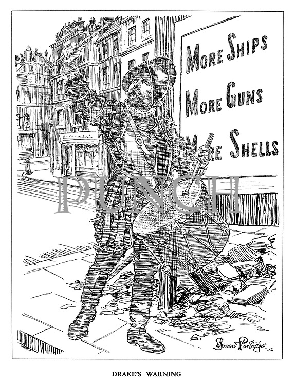 Drake's Warning. (the ghost of Sir Francis Drake beats his drum in a call for More Ships, More Guns, More Shells)