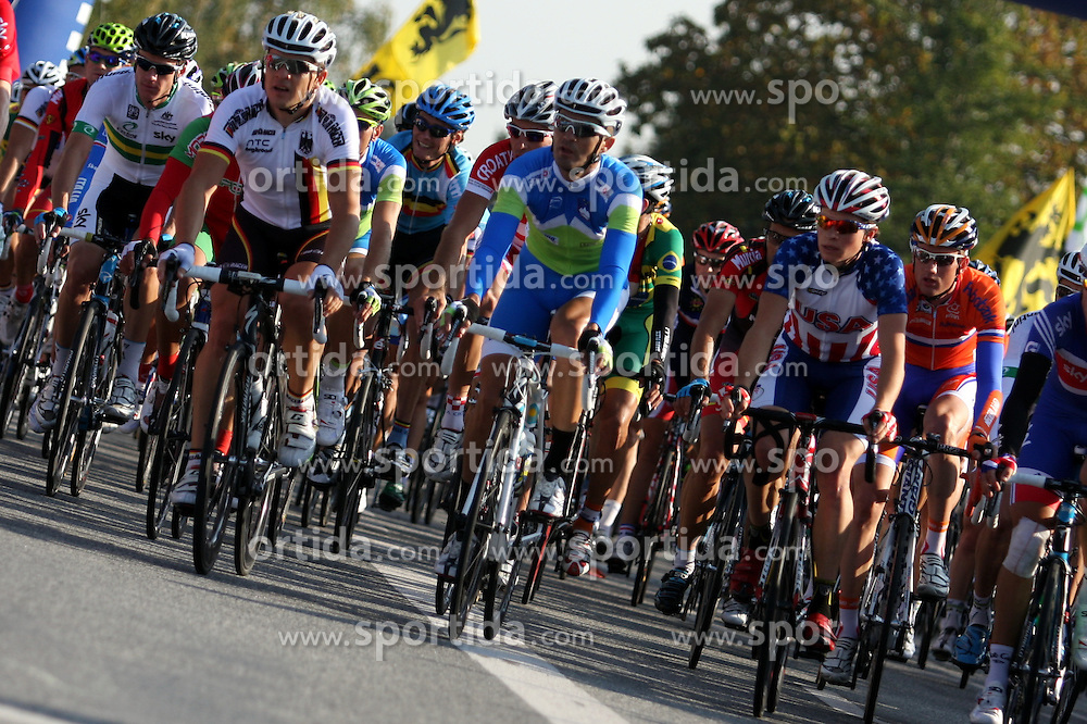 Peloton, Gorazd Stangelj (Slovenia) in front during the Men's Elite Road Race at the UCI Road World Championships on September 25, 2011 in Copenhagen, Denmark. (Photo by Marjan Kelner / Sportida Photo Agency)
