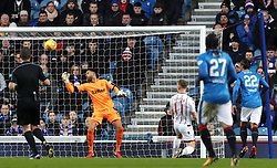 Ross County's Craig Curran scores his side's first goal of the game during the Ladbrokes Scottish Premiership match at the Ibrox Stadium, Glasgow.