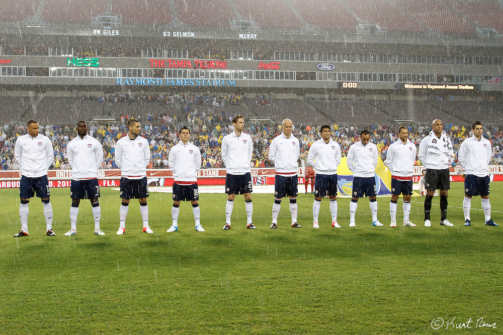 The USA Men's National Team before the Antigua & Barbuda vs USA Men's National Team  semifinal round of 2014 FIFA World Cup qualifier at Raymond James Stadium in Tampa, Fl. .