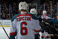 KELOWNA, CANADA - FEBRUARY 8: Kaedan Korczak #6 of the Kelowna Rockets celebrates a goal against the Prince George Cougars on February 8, 2019 at Prospera Place in Kelowna, British Columbia, Canada.  (Photo by Marissa Baecker/Shoot the Breeze)