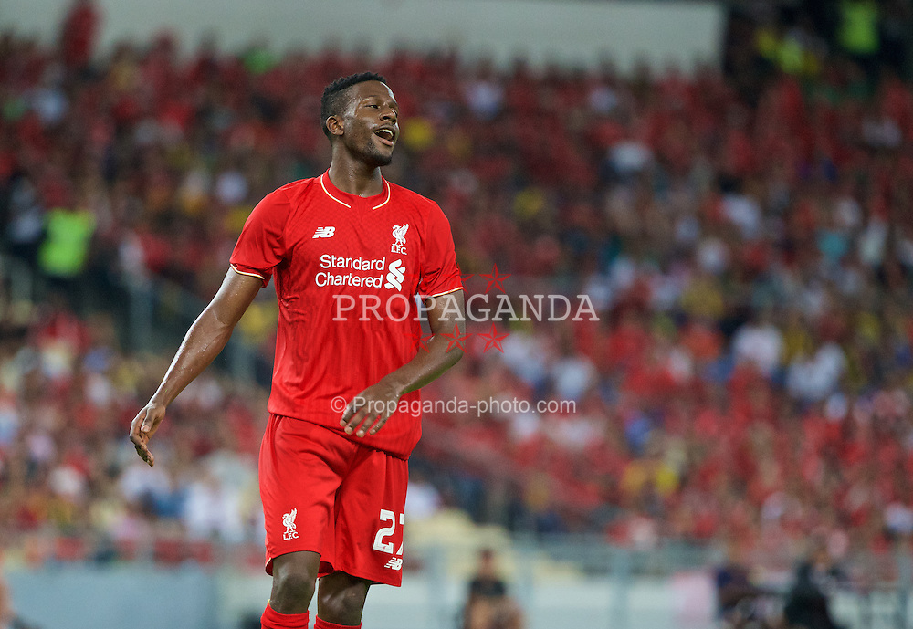 KUALA LUMPUR, MALAYSIA - Friday, July 24, 2015: Liverpool's Divock Origi looks dejected after missing a chace against a Malaysia XI during a friendly match at the Bukit Jalil National Stadium on day twelve of the club's preseason tour. (Pic by David Rawcliffe/Propaganda)