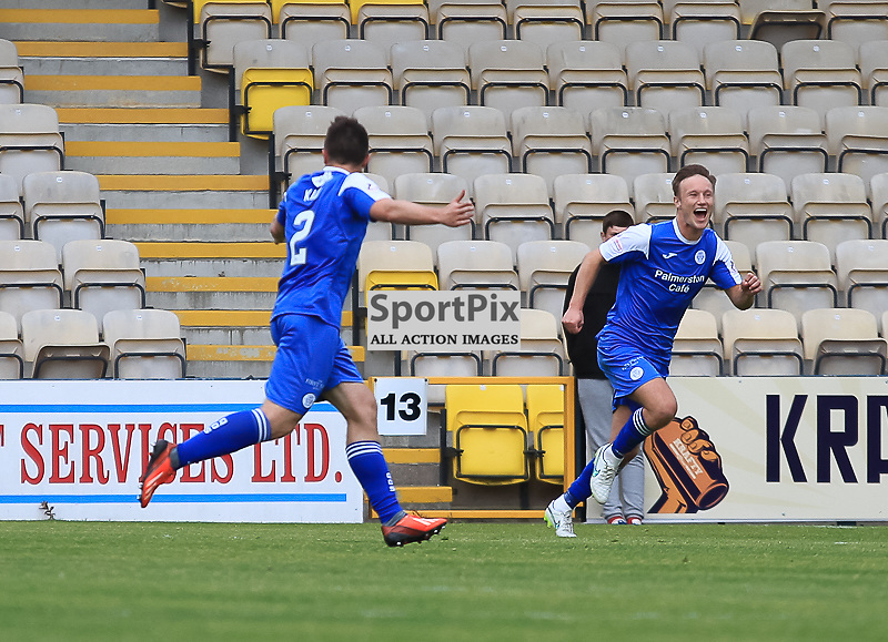 Livingston V Queen of the South Scottish Championship 15 August 2015;  Queen of the South's Lewis Kidd celebrates during the Livingston V Queen of the South Scottish Championship match played at The Energy Assets Arena, Livingston.