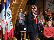 02 JANUARY 2020 - JOHNSTON, IOWA: US Senator AMY KLOBUCHAR (D-MN) speaks during a campaign event in the Simpson Barn, an event space in Johnston, a suburb of Des Moines. More than 500 people attended the event, the largest crowd to attend a Klobuchar event so far. Sen. Klobuchar is campaigning to be the Democratic nominee for the US Presidency. Iowa holds the first selection event of the Presidential election cycle. The Iowa caucuses are Feb. 3, 2020.          PHOTO BY JACK KURTZ