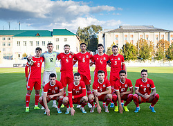 ORHEI, MOLDOVA - Friday, October 11, 2019: Wales players line-up for a team group photograph before the UEFA Under-21 Championship Italy 2019 Qualifying Group 9 match between Moldova and Wales at the Orhei District Sports Complex. Back row L-R: Robbie Burton, goalkeeper Adam Przybek, Brandon Cooper, Benjamin Cabango, captain Jack Evans, Rhys Norrington-Davies. Front row L-R: Nathan Broadhead, Dylan Levitt, Mark Harris, Brennan Johnson, Cameron Coxe. (Pic by Kunjan Malde/Propaganda)
