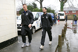 Chris Eagles of Bury FC (right) arrives at Spotland Stadium - Mandatory byline: Matt McNulty/JMP - 06/12/2015 - Football - Spotland Stadium - Rochdale, England - Rochdale v Bury - FA Cup