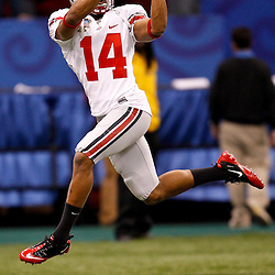 January 4, 2011; New Orleans, LA, USA; Ohio State Buckeyes wide receiver Verlon Reed (14) during warm ups prior to kickoff of the 2011 Sugar Bowl against the Arkansas Razorbacks at the Louisiana Superdome.  Mandatory Credit: Derick E. Hingle