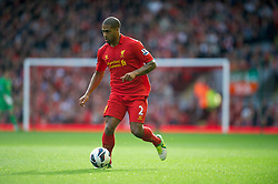 LIVERPOOL, ENGLAND - Saturday, October 20, 2012: Liverpool's Glen Johnson in action against Reading during the Premiership match at Anfield. (Pic by David Rawcliffe/Propaganda)
