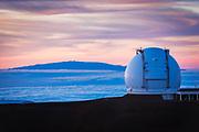 W. M. Keck Observatory and Haleakala Volcano on Maui from the summit on Mauna Kea, The Big Island, Hawaii USA
