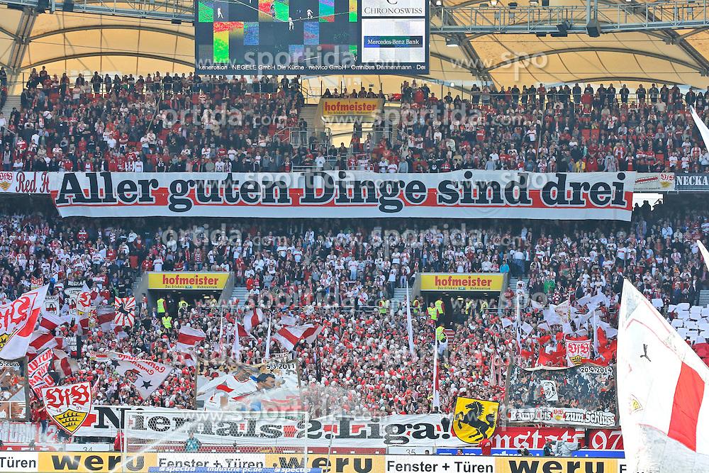 20.04.2014, Mercedes Benz Arena, Stuttgart, GER, 1. FBL, VfB Stuttgart vs Schalke 04, 31. Runde, im Bild Stuttgarter Fans sagen es: Aller guter Dinge sind drei! // during the German Bundesliga 31th round match between VfB Stuttgart and Schalke 04 at the Mercedes Benz Arena in Stuttgart, Germany on 2014/04/20. EXPA Pictures &copy; 2014, PhotoCredit: EXPA/ Eibner-Pressefoto/ BW-Foto<br /> <br /> *****ATTENTION - OUT of GER*****