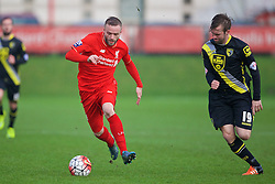 KIRKBY, ENGLAND - Tuesday, January 5, 2016: Liverpool's Ryan McLaughlin in action against Morecambe during the Under-21 Friendly match at the Kirkby Academy. (Pic by David Rawcliffe/Propaganda)