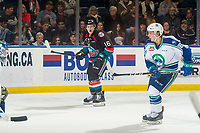 KELOWNA, CANADA - OCTOBER 23: Michael Farren #16 of the Kelowna Rockets calls for the pass against the Swift Current Broncos  on October 23, 2018 at Prospera Place in Kelowna, British Columbia, Canada.  (Photo by Marissa Baecker/Shoot the Breeze)