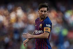 September 29, 2018 - Barcelona, Barcelona, Spain - Leo Messi of FC Barcelona reacts during the La Liga match between FC Barcelona and Athletic Club de Bilbao at Camp Nou on September 29, 2018 in Barcelona, Spain  (Credit Image: © David Aliaga/NurPhoto/ZUMA Press)