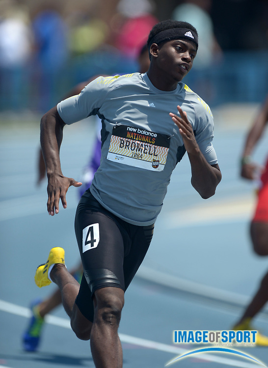 Jun 16, 2013; Greensboro, NC, USA; Trayvon Bromell wins 200m heat in 20.96 in the 2013 New Balance Outdoor Nationals at Aggie Stadium at North Carolina A&T.