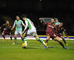 Yeovil Town's Tom Lawrence evades the Watford defence in the penalty area - Photo mandatory by-line: Joe Meredith/JMP - Tel: Mobile: 07966 386802 18/02/2014 - SPORT - FOOTBALL - Yeovil - Huish Park - Yeovil Town v Watford - Sky Bet Championship