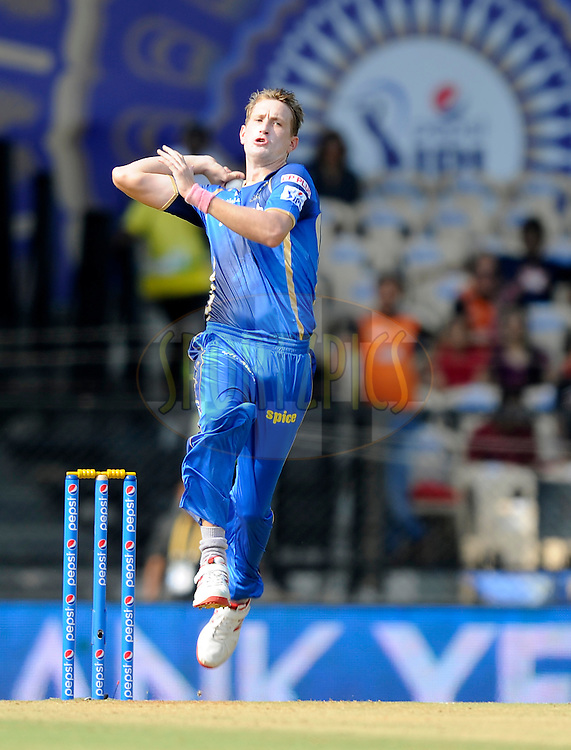 Christopher Morris of Rajasthan Royals bowls during match 41 of the Pepsi IPL 2015 (Indian Premier League) between The Rajasthan Royals and The Sunrisers Hyderabad held at the Brabourne Stadium in Mumbai, India on the 7th May 2015.<br /> <br /> Photo by:  Pal Pillai / SPORTZPICS / IPL
