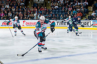 KELOWNA, CANADA - APRIL 26: Cal Foote #25 of the Kelowna Rockets passes the puck at the blue line against the Seattle Thunderbirds on April 26, 2017 at Prospera Place in Kelowna, British Columbia, Canada.  (Photo by Marissa Baecker/Shoot the Breeze)  *** Local Caption ***