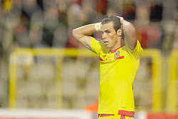 BRUSSELS, BELGIUM - Sunday, November 16, 2014: Wales' Gareth Bale looks dejected after missing a chance against Belgium during the UEFA Euro 2016 Qualifying Group B game at the King Baudouin [Heysel] Stadium. (Pic by David Rawcliffe/Propaganda)