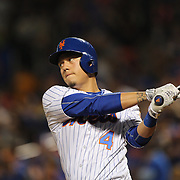 NEW YORK, NEW YORK - July 08: Wilmer Flores #4 of the New York Mets preparing bat during the Washington Nationals Vs New York Mets regular season MLB game at Citi Field on July 08, 2016 in New York City. (Photo by Tim Clayton/Corbis via Getty Images)