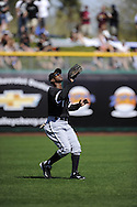 SCOTTSDALE, AZ - MARCH 09:  Juan Pierre #1 of the Chicago White Sox fields against the San Francisco Giants on March 09, 2011 at Scottsdale Stadium in Scottsdale, Arizona. The Giants defeated the White Sox 4-2.  (Photo by Ron Vesely)