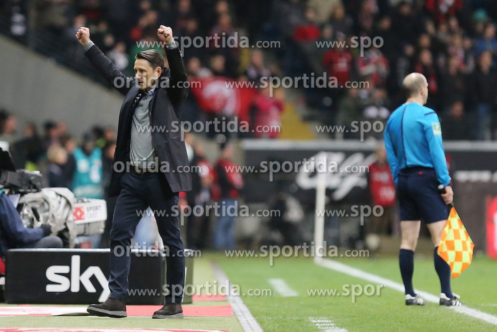 19.03.2016, Commerzbank Arena, Frankfurt, GER, 1. FBL, Eintracht Frankfurt vs Hannover 96, 27. Runde, im Bild Trainer Niko Kovac (Frankfurt) jubelt nach dem Heimsieg im Abstiegsduell gegen Hannover, Siegerfaeuste // during the German Bundesliga 27th round match between Eintracht Frankfurt vs Hannover 96 at the Commerzbank Arena in Frankfurt, Germany on 2016/03/19. EXPA Pictures &copy; 2016, PhotoCredit: EXPA/ Eibner-Pressefoto/ Roskaritz<br /> <br /> *****ATTENTION - OUT of GER*****