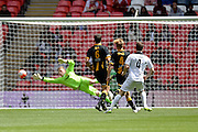 Hereford FC Rob Purdie opens the scoring during the FA Vase match between Hereford FC  and Morpeth Town at Wembley Stadium, London, England on 22 May 2016. Photo by Dennis Goodwin.