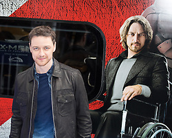 Hugh Jackman  (not in frame)  & James McAvoy present the movie X-Men: Days of Future Past, in partnership with virgin trains. Euston Station, London, United Kingdom. Monday, 31st March 2014. Picture by Daniel Leal-Olivas / i-Images