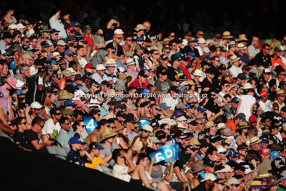 Fans at the match. ANZ International Series, 1st Chappell-Hadlee Trophy ODI between New Zealand Back Caps and Australia at Eden Park in Auckland, New Zealand. 3 February 2016. Photo: Anthony Au-Yeung / www.photosport.nz