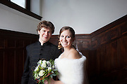 David Brown and Kaitlyn Waterson on their wedding day at the Baldwin School in Bryn Mawr, Pennsylvania. @ Ed Hille
